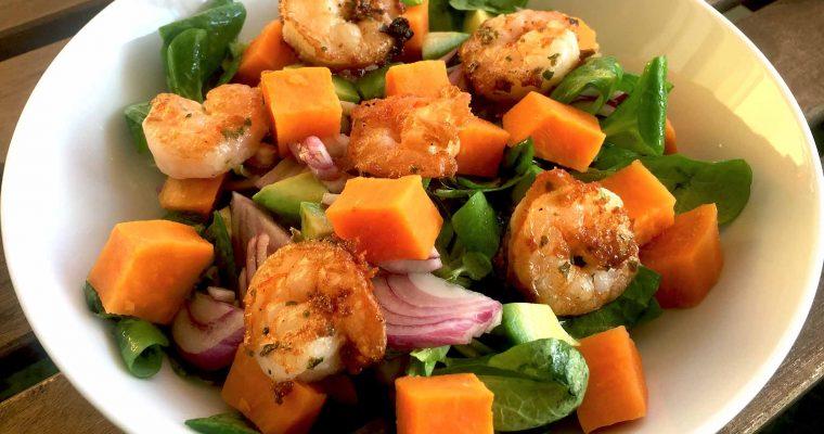 Salată cu creveți și cartof dulce